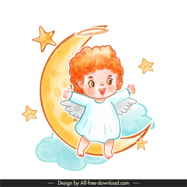 angel icon moon stars cloud sketch cute cartoon character