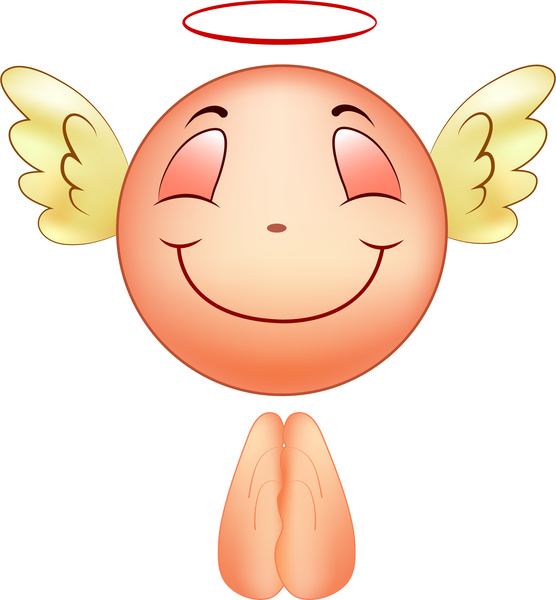 angel icon with happy smile emotion vector