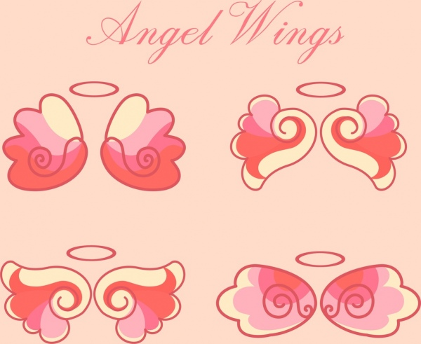 angel wings icons collection pink flat sketch