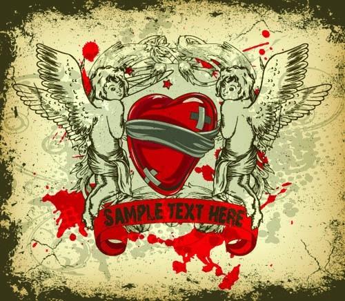 love background angles hearts decor grunge retro design