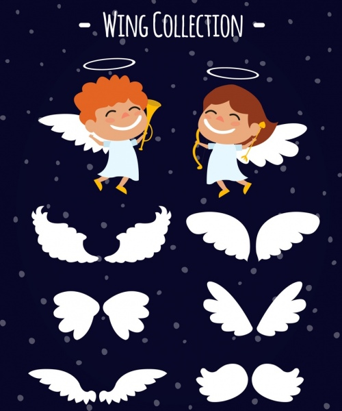 angle design elements white wings isolation cute cartoon