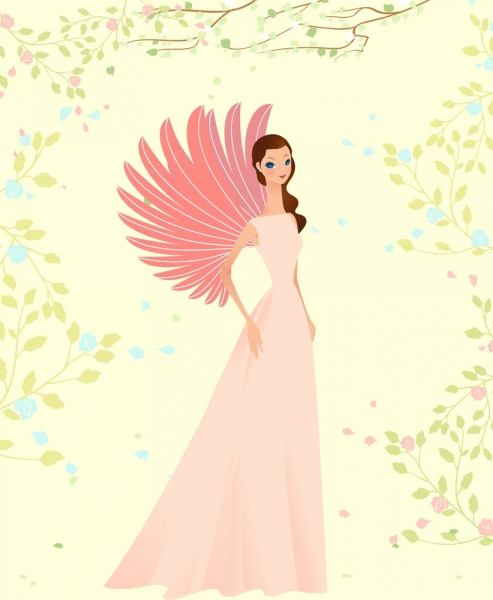 angle drawing elegant winged woman icon colored cartoon