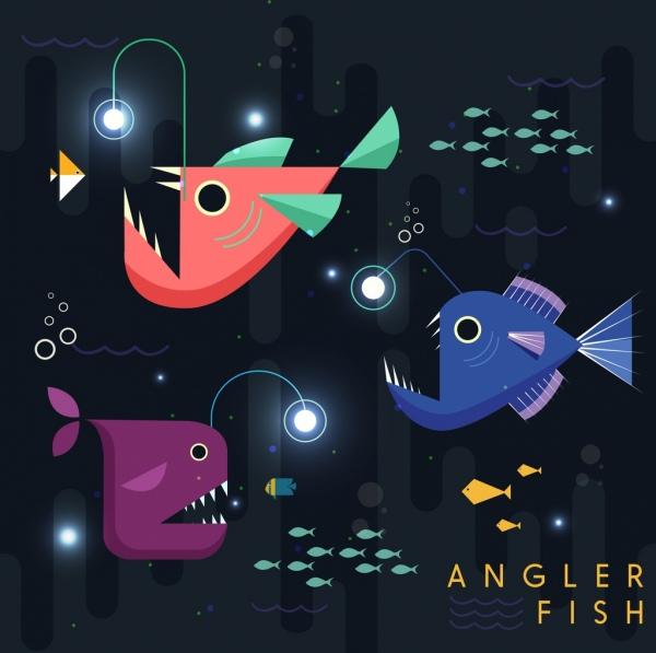 angler fish background geometric design colored cartoon