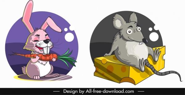 animal avatar templates cartoon rabbit mouse icons
