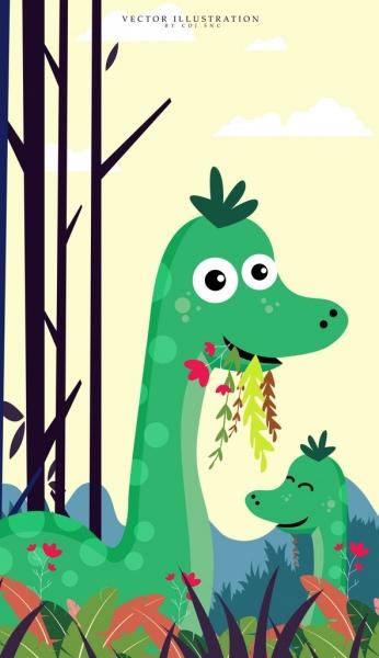 animal background green dinosaur icons cute cartoon