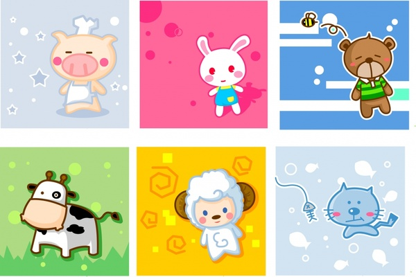 animal icons cute cartoon characters colored design
