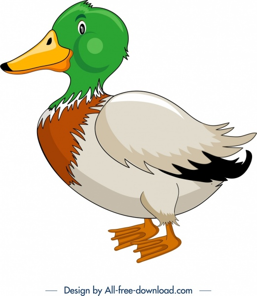 animal painting wild duck icon colored cartoon sketch