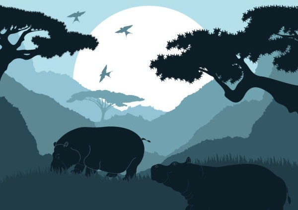 animal silhouette pattern 03 vector