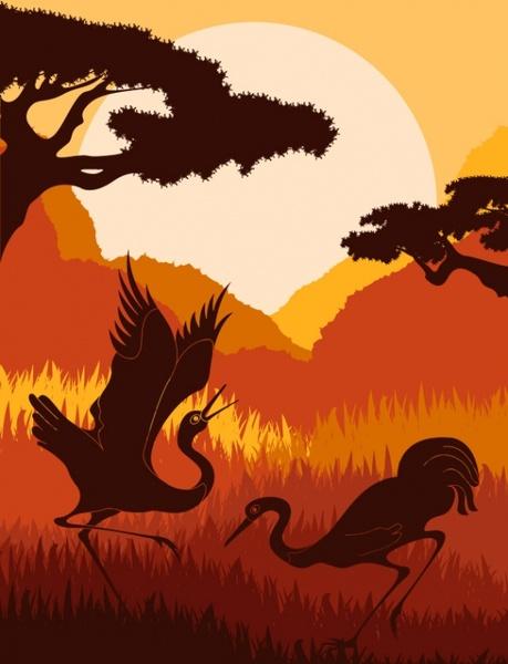 animal silhouette pattern 04 vector