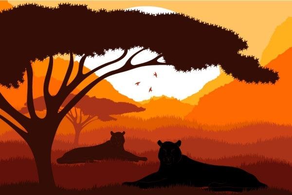 animal silhouette pattern 05 vector
