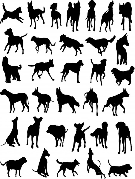 dog icons collection black silhouette design