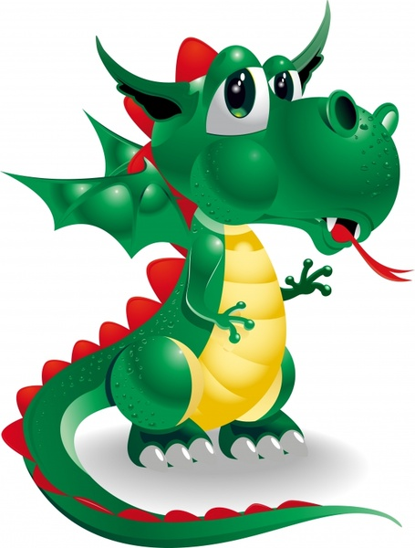 dragon animal icon shiny modern 3d cartoon sketch