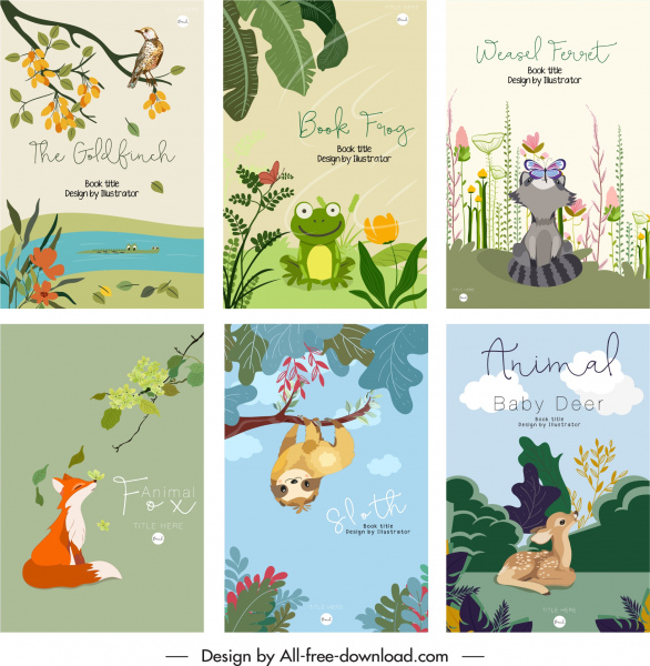 animals book cover templates cute colorful cartoon sketch