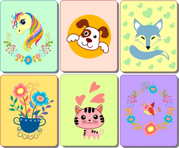 animals flowers card templates flat colorful isolation