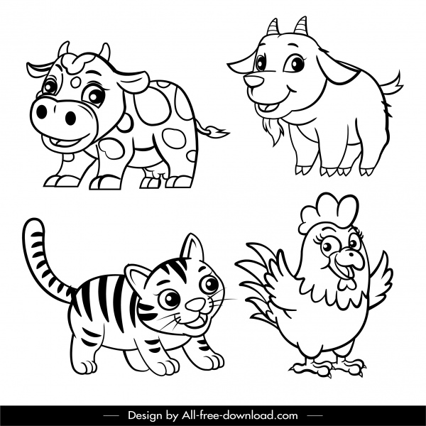 animals icons black white handdrawn cartoon sketch