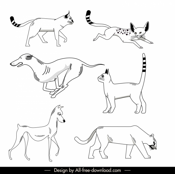 animals icons black white handdrawn sketch