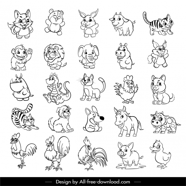 animals icons collection cute black white cartoon sketch