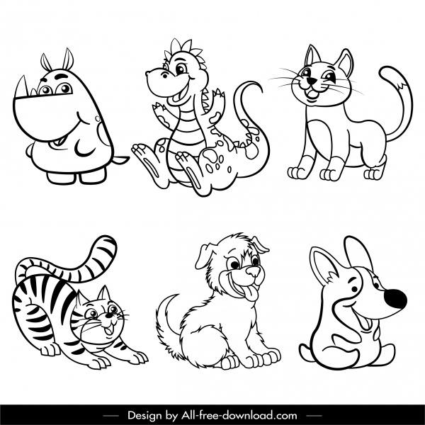 animals icons cute cartoon sketch black white handdrawn