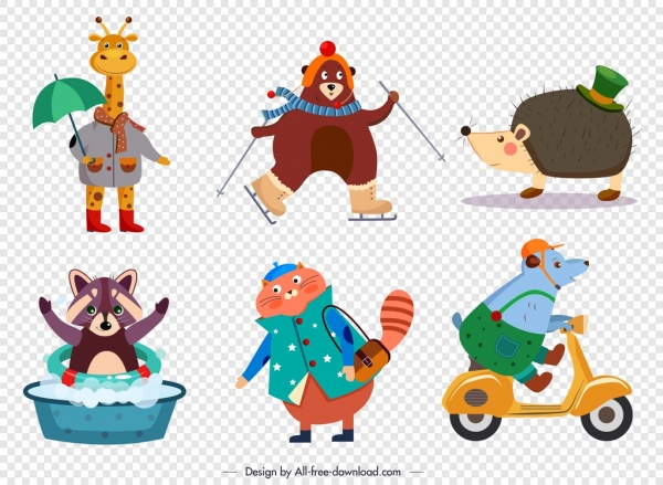 animals icons cute stylized cartoon sketch
