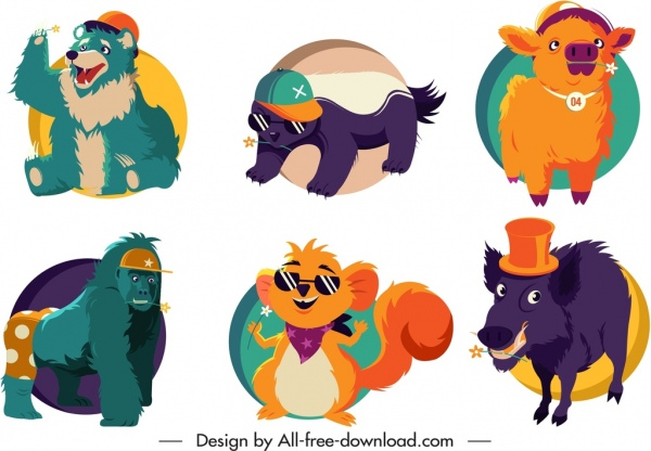 animals icons funny cute cartoon sketch