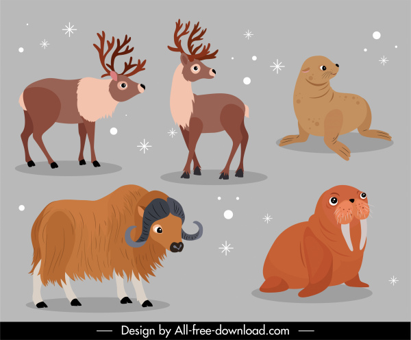 animals icons reindeer seal bull sketch cartoon design