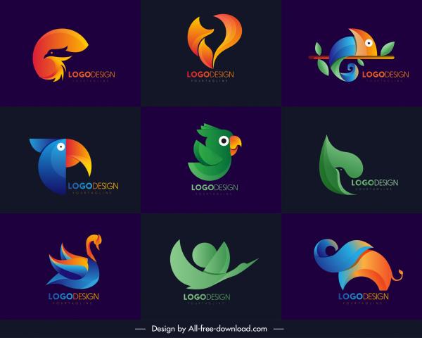 animals logo templates modern colored abstract decor