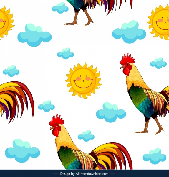 animals pattern rooster sun cloud icons repeating design