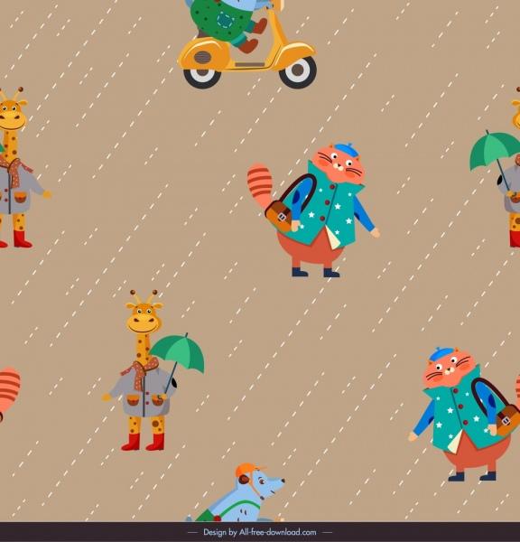 animals pattern stylized giraffe cat mouse icons decor