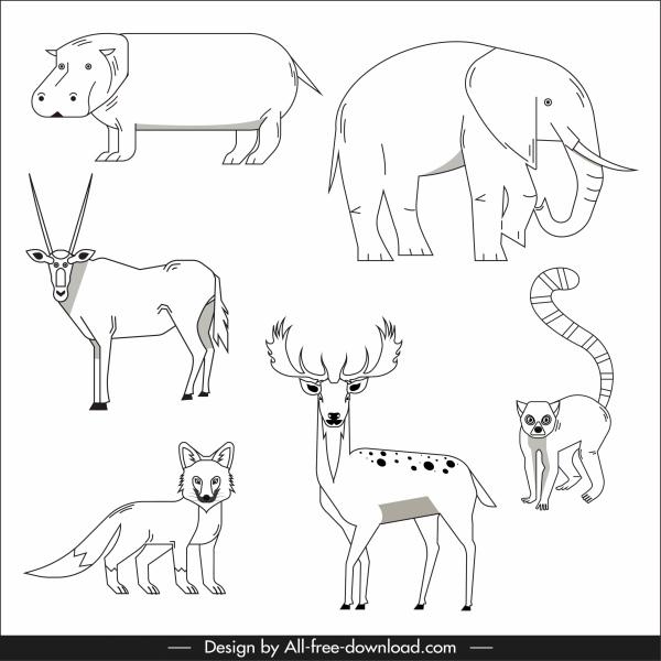 animals species icons black white design handdrawn sketch