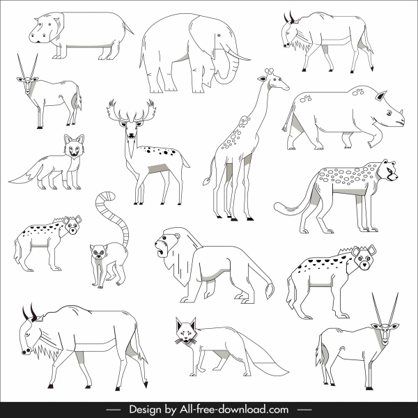 animals species icons black white handdrawn sketch