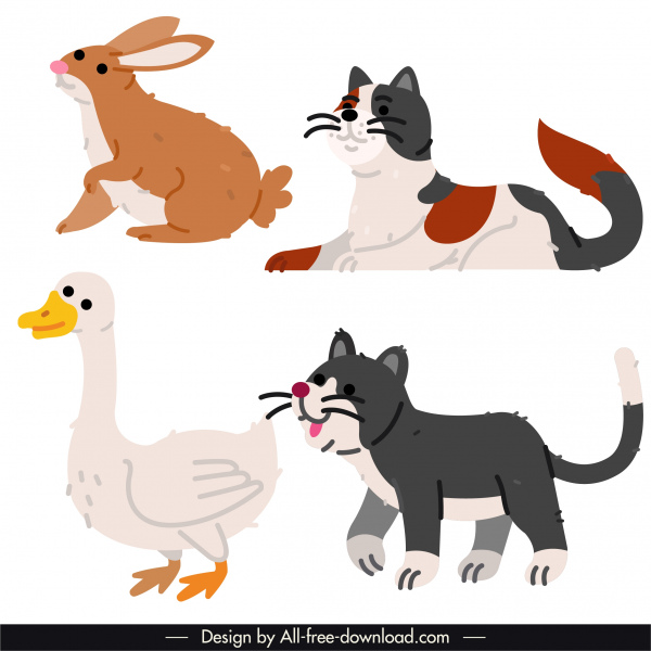 animals species icons colored flat handdrawn classic sketch