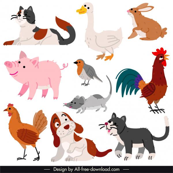 animals species icons colored retro handdrawn sketch