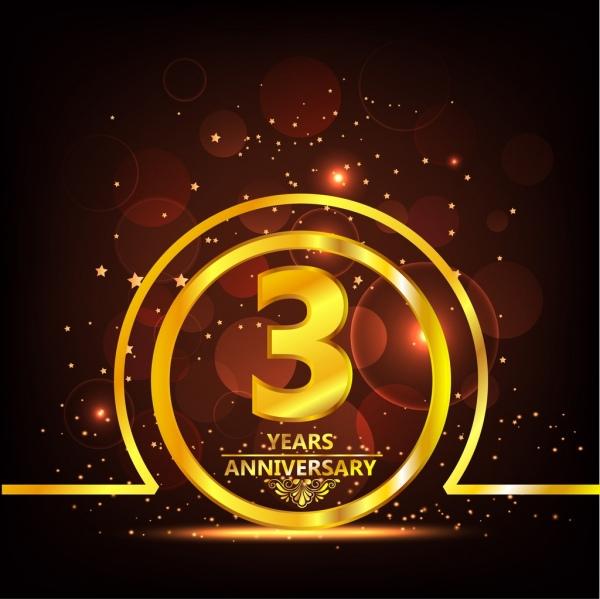 anniversary banner sparkling yellow circle number bokeh lights