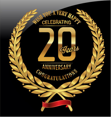 anniversary celebration golden laurel wreath labels vector
