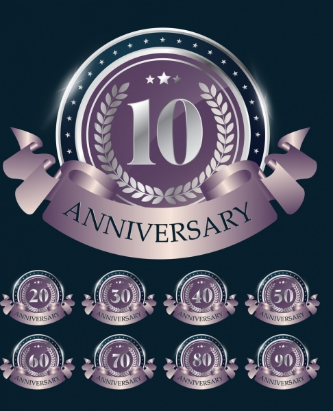 Anniversary Medal Templates Shiny Silver Decor Free Vector 7 38mb