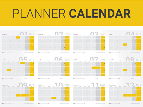 annual planner16 calendar vectors free vector in encapsulated