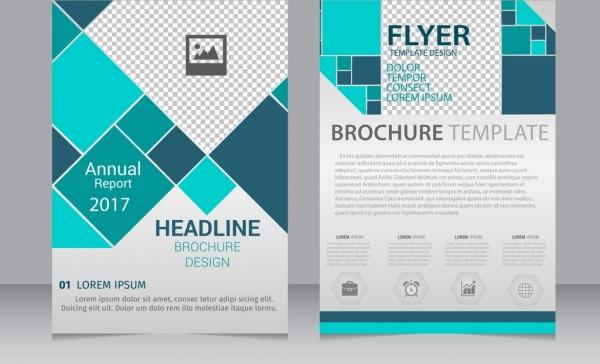 annual report brochure flyer template blue geometric ornament
