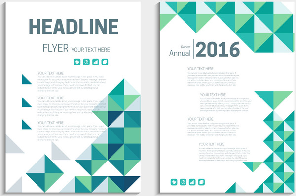 annual report flyer template with delusion triangles background