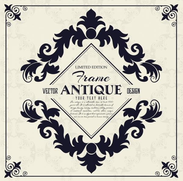 antique frame template flat black symmetric decor