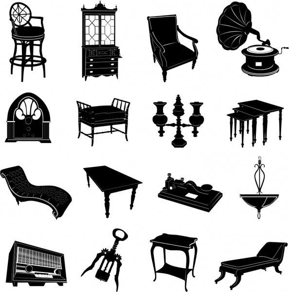 vintage furnitures icons black white 3d sketch