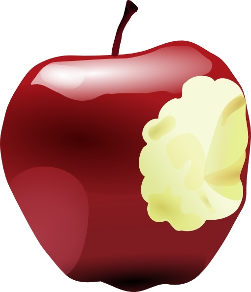 Apple bitten. Clip art free vector