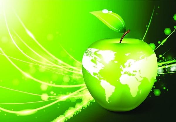 eco apple background green swirled decoration sparkling style