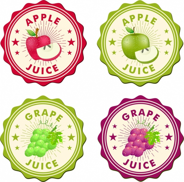 apple grapes juice labels collection colored circle style