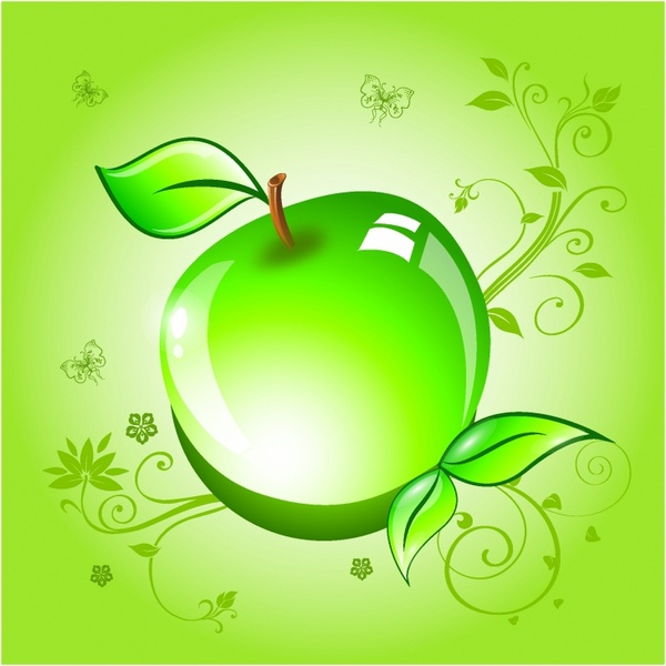 Apple on a green background