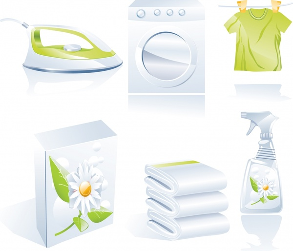 laundry work design elements shiny colored 3d icons