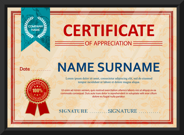 appreciation certificate design with classical style