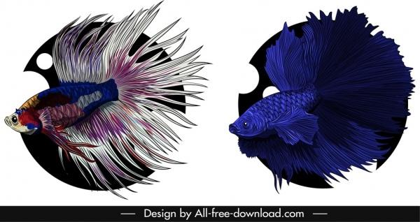 aqua fish icons elegant gaudy colored design