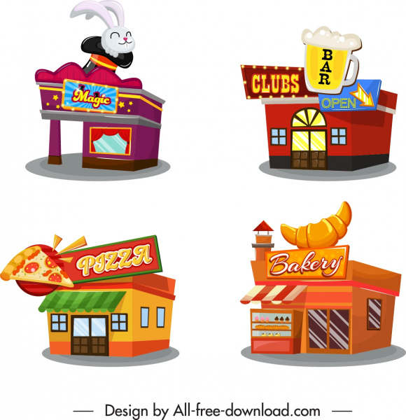 architecture icons 3d restaurant bar circus bakery sketch