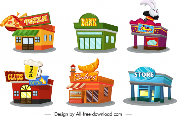 architecture icons colorful stores offices sketch 3d design