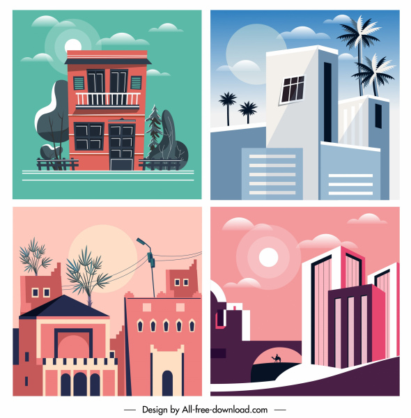 architecture paintings colored classic sketch